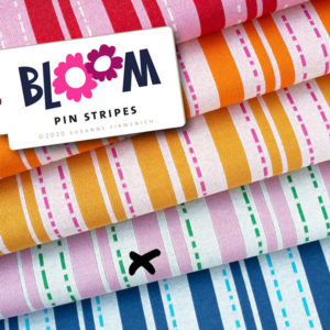 Jacquardjersey Bloom Pin stripes Hamburger Liebe - rosa / grün