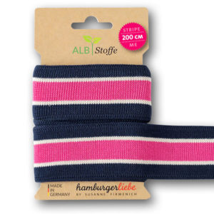 "Strickband - ""stripe me College"" dunkelblau / pink"