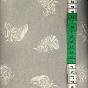 Baumwolle - Federn hellgrau