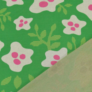 Jacquardjersey Bloom Big Hamburger Liebe - grün / pink