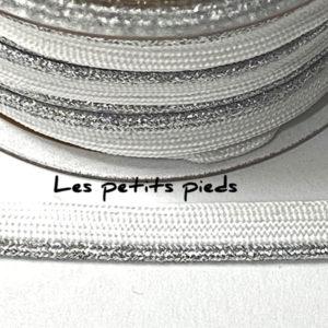 Paspelband 10 mm - weiss lurex