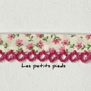 Baumwollschrägband Blumen pink Spitze