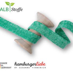 Flachkordel Hamburger Liebe 20mm - grün melange