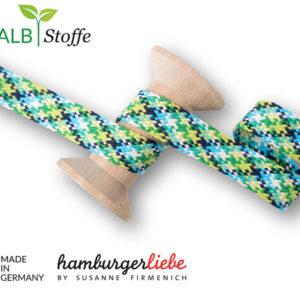 Flechtflachkordel Twist Me Hamburger Liebe 20mm - grün / blau / türkis