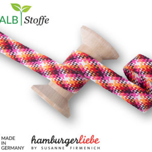 Flechtflachkordel Twist Me Check Hamburger Liebe 24mm - rosa / pink/ orange