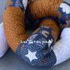 Bettschlange Regenbogen jeansblau / senf