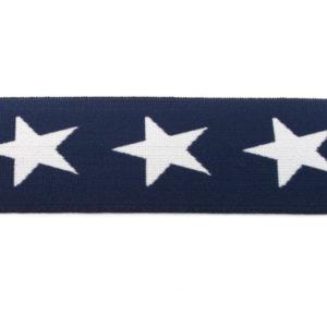 Gummiband 40 mm - Sterne gewebt - dunkelblau / weiss