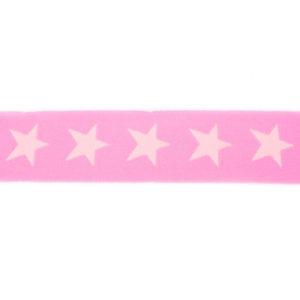 Gummiband 40 mm - Sterne gewebt - rosa / hellrosa