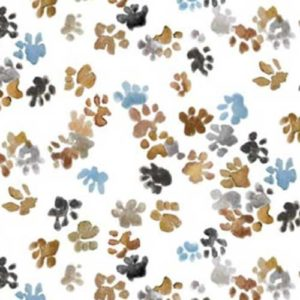 Baumwolle - Tiertatzen- Michael Miller - blau / zimt / grau