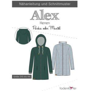 Papierschnittmuster Parka Alex Herren Gr 2XS - 4 XL - Fadenkäfer