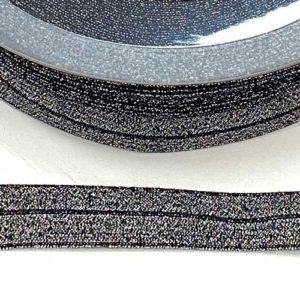 Elastisches Schrägband / Falzgummi 20mm - schwarz lurex