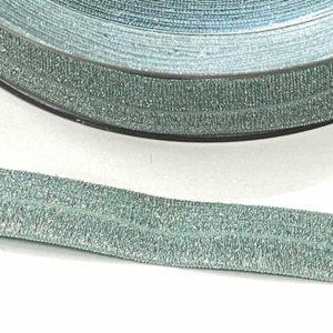 Elastisches Schrägband / Falzgummi 20mm - altmint lurex