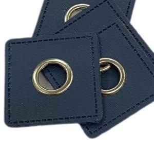 Ösenpatch 4 Stück - dunkelblau viereckig
