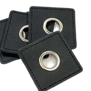 Ösenpatch 4 Stück - schwarz viereckig