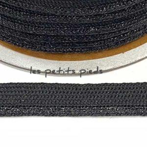 Paspelband 10 mm - schwarz lurex
