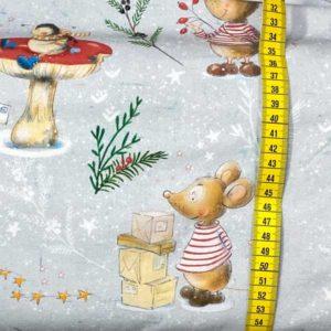 Jersey Biobaumwolle - Weihnachtsmaus Lillestoff - grau / bunt