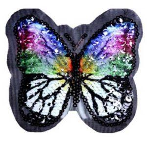 Applikation - Wendepailetten Schmetterling - schwarz / bunt