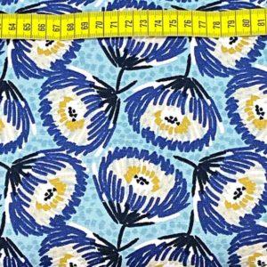 Baumwollcanvas - Blumen blau