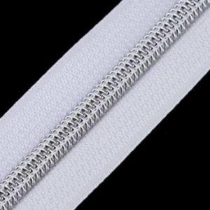 Reissverschluss 5 mm - weiss / silber