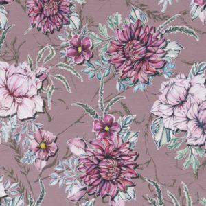 """Jersey Baumwolle - """"My Watercolor Garden"""" Lila Lotta - altrosa"""