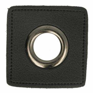 Ösenpatch 2 er Pack - schwarz viereckig / altsilber