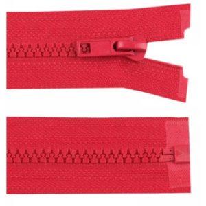 Krampenreissverschluss 5 mm - teilbar - rot 50 cm
