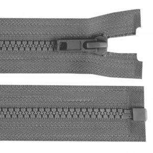 Krampenreissverschluss 5 mm - teilbar - mittelgrau