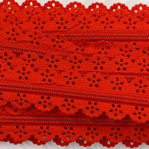Reissverschluss Spitze 3 mm - rot