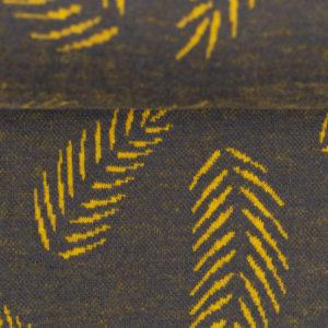 "Jacquardjersey - ""Twigs by Lycklig design"" - dunkelgrau / senf"