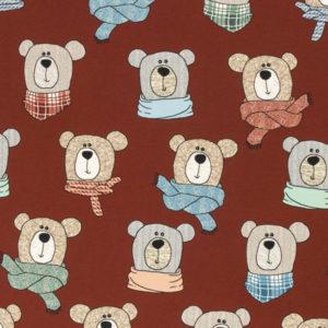 """Baumwolljersey angeraut - """"Sweet Bears"""" - Bären - ziegelrot"""