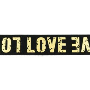 Gummiband 40 mm - Love - schwarz / gold