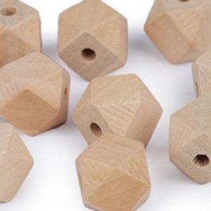 Holzperle Hexagon 15 mm - unlakiert natur