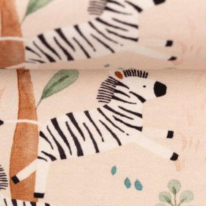 """Jersey Baumwolle - """"Savanna freinds"""" Zebras - beige"""