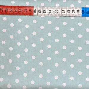 Baumwolle - Punkte 8 mm - mint / weiss
