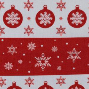 Baumwolle - Weihnachtskugel - rot/ weiss