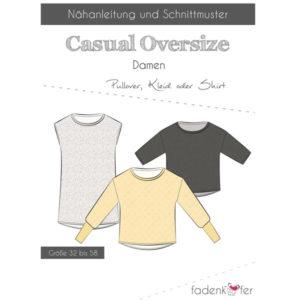 Papierschnittmuster Pullover Casual Oversize Damen Gr. 32 - 58 - Fadenkäfer
